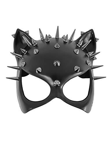 Deiters Maske Katze mit Nieten, Cosplay, Halbmaske, sexy, mit Katzenohren für Erwachsene