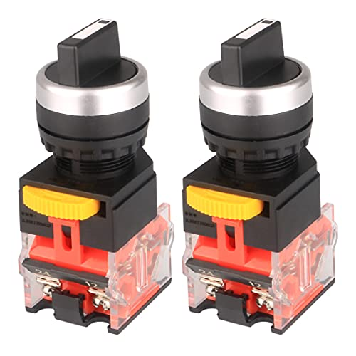 GUUZI Selettore Rotativo Mantenuta - Interruttore Autobloccante Impermeabile, Foro di Montaggio da 22mm, Funzione di Controllo NO/NC, Tensione 660V AC e corrente di contatto 10A