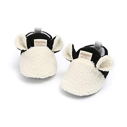 IHGWE - Zapatillas de algodón para niña, para invierno, de algodón, cálidas, para invierno, para niños, antideslizantes, para casa Blanco 12-18 Meses