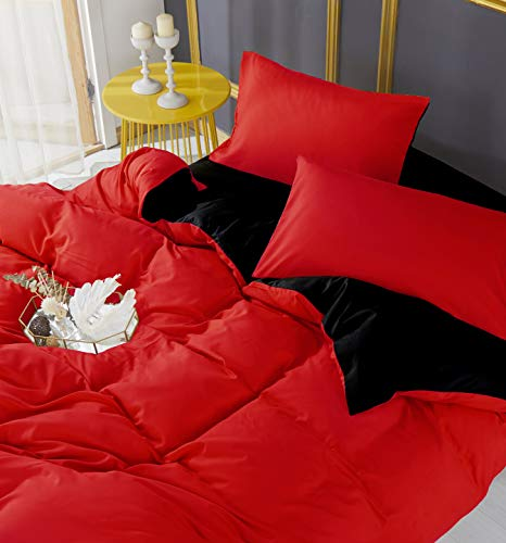 Adam Home 4PCS Complete Reversible Duvet Cover & Fitted Sheet Soft Micro Fiber Bedding Sets by TTO (Red Black, King)