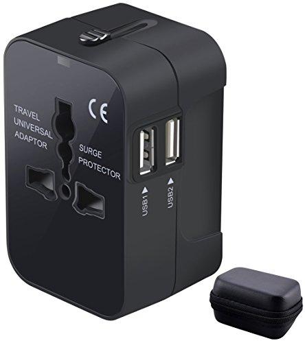 Adaptador Enchufe USB de Viaje Universal Adaptador Internacional con Dos Puertos USB para US EU UK AU Acerca de 150 Países y Seguridad de Fusibles para Tableta PC, Smartphones, Cámaras Digitales
