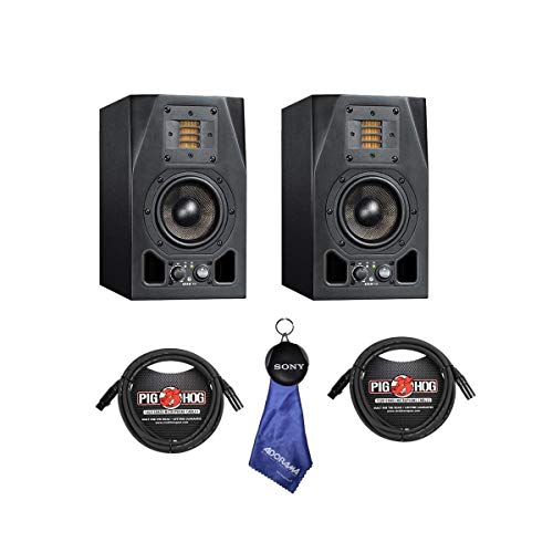 Adam Audio 2 pack A3X 4.5' 50W 2-Way Active Nearfield Monitor, - Bundle With 2 Pack 15' 8mm XLR Microphone Cable, Fiber Optic Cleaning Cloth