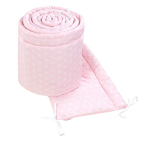 TupTam Babybett Bettumrandung Nestchen Lang Gemustert, Farbe: Rosette Rosa, Größe: 420x30cm (für Babybett 140x70)
