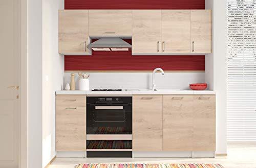 Arreditaly Cucina Componibile Completa con Top Intero Bianco, Mobili Pensili Sospesi e Mobili Base Cucinino Moderno in Laminato da 210 Cm da Incasso (Rovere Chiaro)