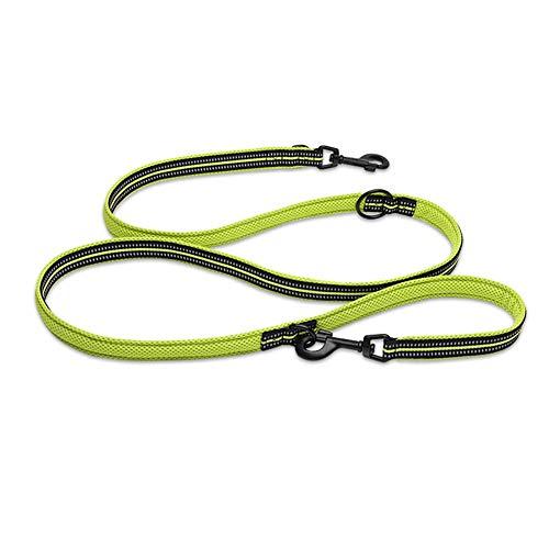 ZZQ Mehrzweck-Hundeleine Verstellbares Seil Strapazierfähiges Nylon 3M-Leine aus reflektierendem Material für das Walking-Training,Yellow,L