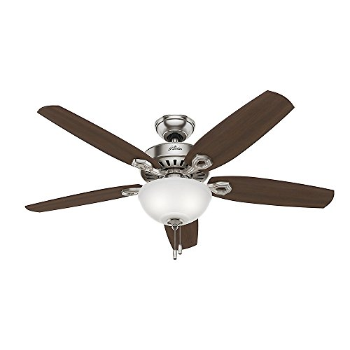 Hunter Builder Deluxe 52 Inch Indoor Brushed Nickel Ceiling Fan with Light Kit