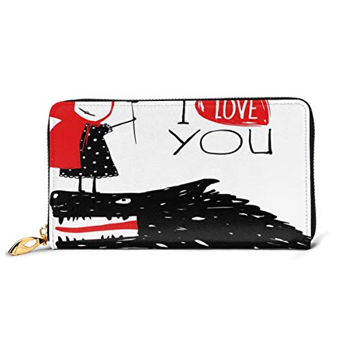 Women's Long Leather Card Holder Purse Zipper Buckle Elegant Clutch Wallet, Little Red Riding Hood Loves Bad Horrible Wolf Plot Twist Fairytale Artwork,Sleek and Slim Travel Purse