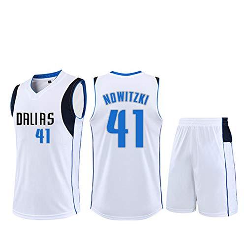 Herren Basketball Trikots für Dirk Nowitzki #41 Herren Basketball Trikot New Jersey (Größe:XS-XXL) Gr. 56, weiß