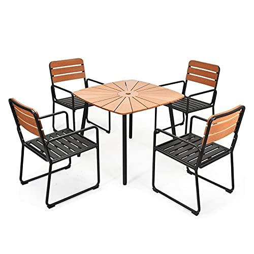 lemeibaihuo zis 5 unids Patio al Aire Libre Mesa de Comedor Conjunto de Aluminio apoyabrazos Paraguas Hueco jardín