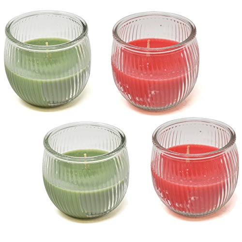 Christmas Scented Candles Gift Set Set of 4 Green Christmas Tree and Red Cinnamon Spice Candle Scent 3 Oz Jar Winter Holiday Scents Decor Burns for 25 Hours by Gift Boutique