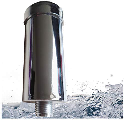 Filtro anti-calcare anti-cloro per doccia e vasca da bagno  riduce le irritazioni cutanee e capelli danneggiati realizzato in UE con filettatura da 1/2' per tubo doccia normale., Argento