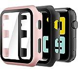 Hianjoo 2 Piezas Estuche Rígido Compatible con Apple Watch 38mm, Cubierta de PC con Protector de Pantalla Templado Compatible con iWatch Series 3 2, Protección Completa, Antiarañazos, Negro/Oro Rosa