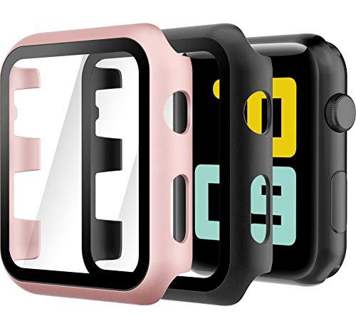 Hianjoo 2 Piezas Estuche Rígido Compatible con Apple Watch 42mm, Cubierta de PC con Protector de Pantalla Templado Compatible con iWatch Series 3 2, Protección Completa, Antiarañazos, Negro/Oro Rosa