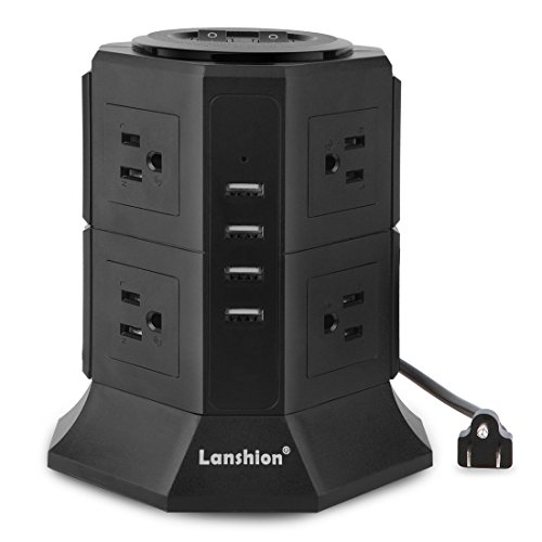 Lanshion 8 Outlet Surge Protector Power Strip with 4 USB Charging Ports 1875W Desktop USB Charging Station with 6.5-Feet Long Power Cord, 1000 Joules,UL Listed (Black)
