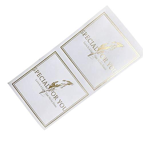 YCYY 60 Piezas de Pegatinas cuadradas Blancas Selladas Especialmente horneadas para su Etiqueta Adhesiva Kraft Hecha a Mano DIY Pastel de Regalo Hecho a Mano