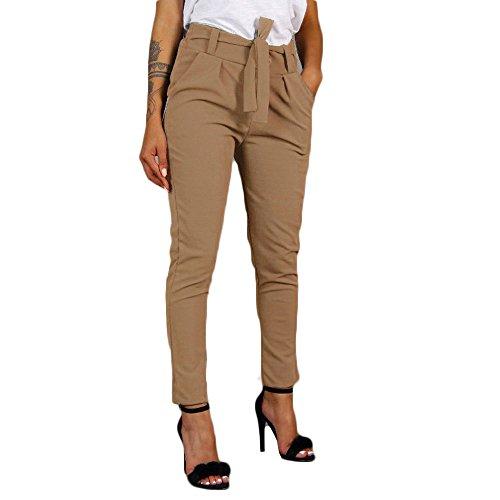 Patifia Hosen Damen, Frauen Einfarbig hohe Taille Pluderhosen Frauen Bandage elastische Taille Streifen Freizeithosen Knöchellange Business Damenhosen Enge Hosen Lässige Bleistifthosen