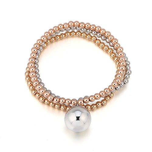 Frauen Charm Armband, Stretch Bead Armreif Kupfer Bell Anhänger Freundschaft Manschette Armband für Mädchen (Mehrere Farben)