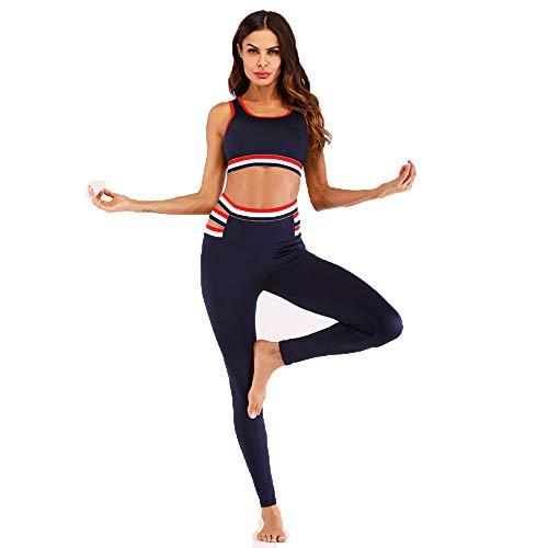 YZstore Conjunto Ropa Deportiva Mujer Conjuntos de Sujetador Crop Top y Pantalon Leggings Yoga Set Chandal Sportwear para Gym Running Fitness