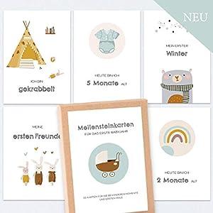 50 Meilensteinkarten Baby Meilensteine/in schöner Geschenkbox/Baby Meilensteinkarten/Boho/unisex/tolles Geschenk zur…