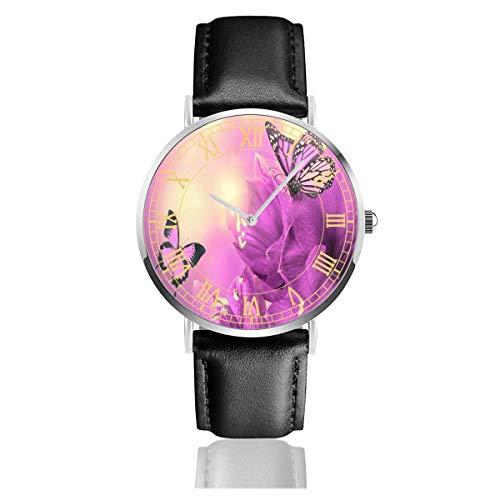 Reloj para Mujer Mariposas de Flores púrpuras Relojes de Pulsera de Cuarzo de Acero Inoxidable Elegantes y Anchos con Correa de Cuero