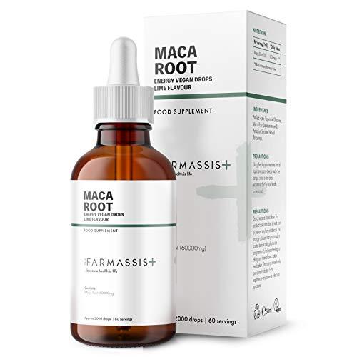 Farmassis+ Maca Root Extract Liquid Supplement Drops - Citrus Flavour - 60ml - 500mg - Vegan Tincture - 60 Servings