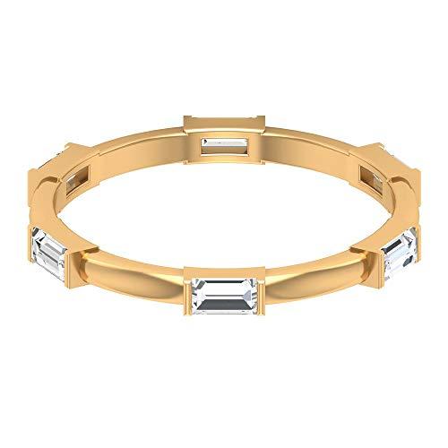 Moderna alianza de boda, HI-SI certificado 0,87 ct, anillo de diamante en forma de baguette, anillo de aniversario, anillo de compromiso apilable, regalo para ella, 14K Oro amarillo, Size:EU 59