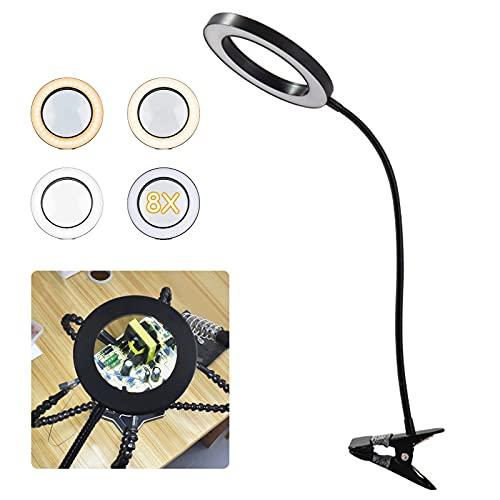 Lámpara con lupa LED, 3-5 aumentos, con luz y soporte, lámpara de trabajo con clip, lámpara de lectura, lámpara de mesa con brazo giratorio, recargable por USB, regulable, para lectura y aficiones