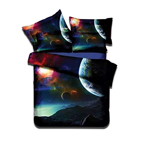 SmoIocn Comforter Sets Blanket, 3D Double size Universe galaxy planet landscape Bedding, All-Season Reversible Quilted Duvet, for Children Boy Girl Teen Kids - Includes 1 Comforter, 2 Pillow 200 x 2