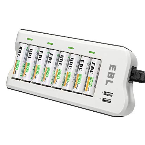 EBL 8pcs Piles Rechargeables AA 2800mAh + Chargeur...