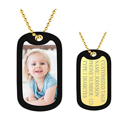 Custom Picture Pendant Photo Dog Tags Personalized with Silencer 18K Gold Plated Military Customized ID Tag Necklace for Men