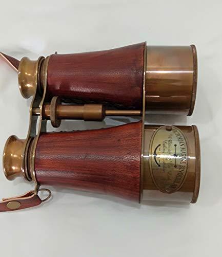 Vintage Marine Victorian Brass Orange Leather Binocular Sailor Instrument London 1915