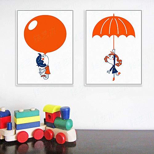 TXTYUMR Moderno Globo Rojo Paraguas niño niña Arte impresión Cartel Dibujos Animados Cuadro de Pared Lienzo Pintura habitación de niños decoración del hogar/sin Marco