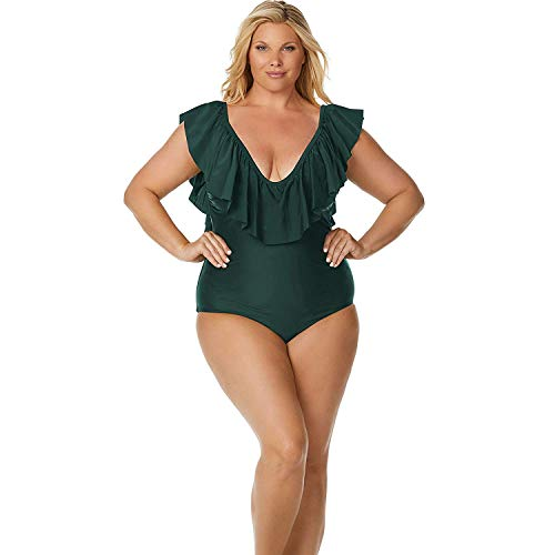 Raisins Curve Womens Plus Size Ruffle-Neck Swimsuit (16W, Green)