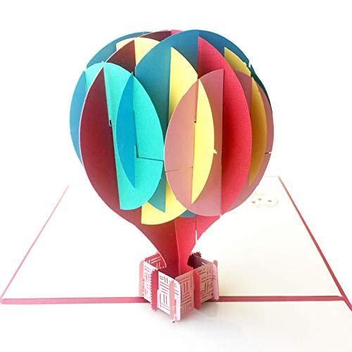 Pop up Birthday Card Designer Pop up Cards - Make him smile instantly with surprising 3D Blank Cards with Envelopes Card Birthday Card Note cards with envelopes Thank you card (3 Cards, Hot Balloon)