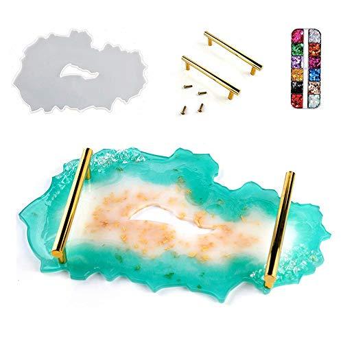 Moldes de bandeja de resina de silicona, molde de resina epoxi de silicona diy con 1 marco de metal y lentejuelas, moldes de fundición de resina epoxi para hacer bandeja de resina