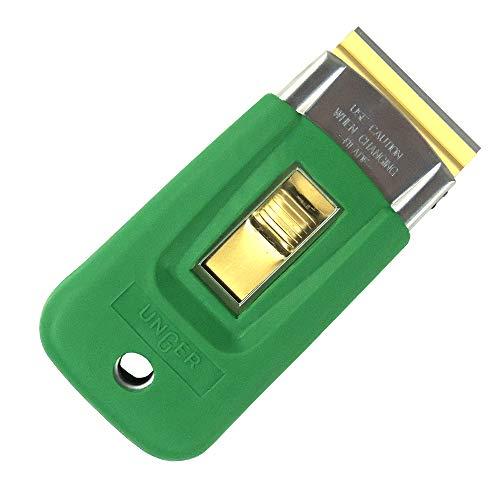 Unger ErgoTec Sicherheitsschaber (Glasschaber, doppelseitig scharfe Klingen, Gummiüberzug, ergonomischer Griff) SR03K