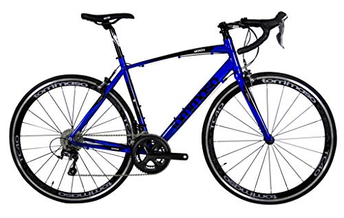 Tommaso Monza Endurance Aluminum Road Bike, Carbon Fork, Shimano Tiagra, 20 Speeds, Aero Wheels - Blue - Medium