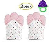 Knisternder Handschuh für Babys, 2 Stück Baby Zahnen Handschuh + 1 Stück Traubenform Beißring Spielzeug, Lebensmittelechtes Silikon, Baby Beißring Spielzeug für 3 bis 18 Monate Babys, Pink
