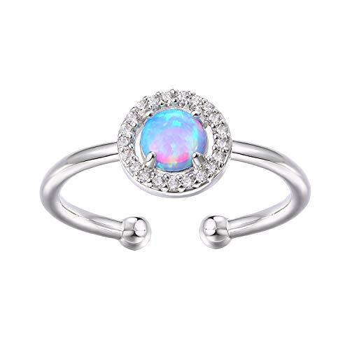 PAVOI 14K White Gold Plated Blue Opal Ring, Adjustable | Gold Rings for Women