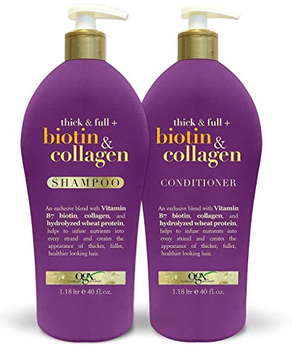OGX Thick & Full Biotin & Collagen Shampoo 40oz + Conditioner 40oz, with Pump Duo-Set