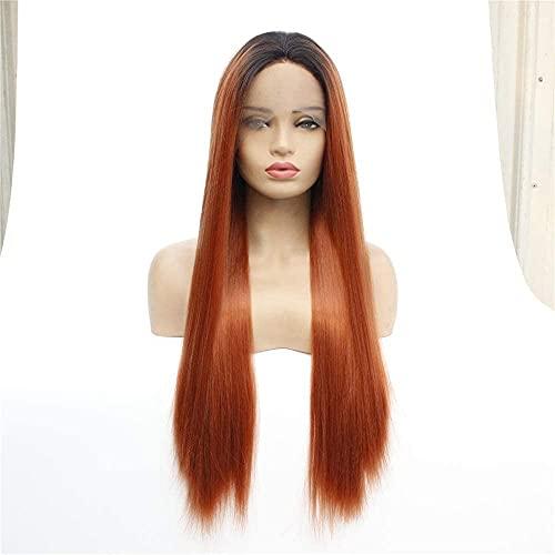 L&B-MR Pelucas elegantes para las mujeres frente encaje fibra química capucha, color degradado de longitud media pelo recto señoras alta temperatura peluca de seda headgear mejor opción de regalo