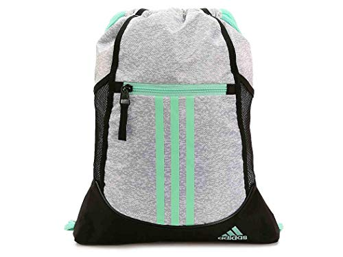 adidas Unisex Alliance II Sackpack, Grey Two Pixel/Black/Clear Mint, OS