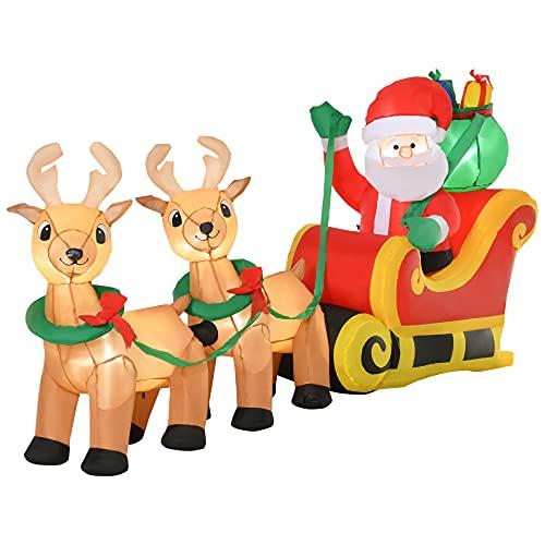 HOMCOM Papá Noel Inflable con Trineo y Renos con Luces LED Decoración de Navidad para Exterior Aire Libre con Inflador 240x57x112 cm Multicolor