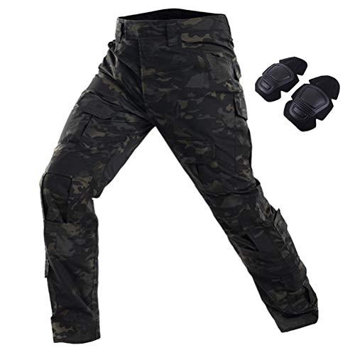 SGOYH Multi-Tasche Diensthosen Paintball Schießen BDU Taktische Hosen Airsoft Hosen mit Knieschützer (Schwarz-CP, S(30))