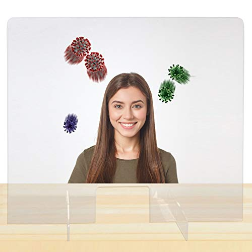 Sneeze Guard Portable Counter Shield | Acrylic Plexiglass Countertop Display | Clear Desk Panel Barrier for Office Safety, Employees, Workers, Customers (Extra Wide - 32