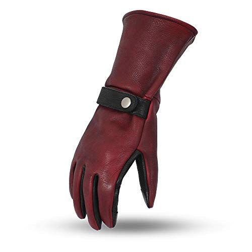 First Mfg Co Men's Gauntlet Leather Motorcycle Touch Tech Finger Gloves (Oxblood/Black, X-Large)