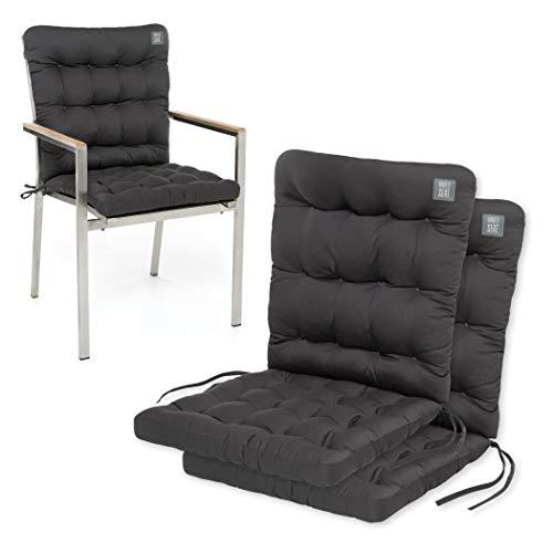HAVE A SEAT Luxury | Gartenstuhl Auflage Niedriglehner - Bequeme Stuhlauflage, waschbar bei 95°C, Trockner geeignet, Sitzauflage Outdoor (2er Set - 100x48x8 cm, Grau-Anthrazit)