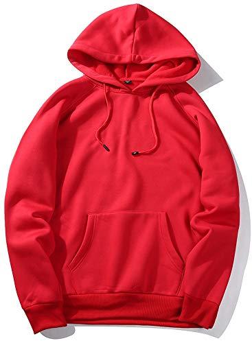 VSUSN Pullover mit Kapuze Fleece Hoodie Langarm Kapuzenpullover Sweatshirt mit Känguru Taschen Sweater Sweatjacke Hoody Kapuzenjacke für Herren und Damen(Rot,M)