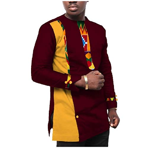 CuteRose Men's Long-Sleeve Oversized Patchwork African Wax Fabric Tees Top jujube red 3XL