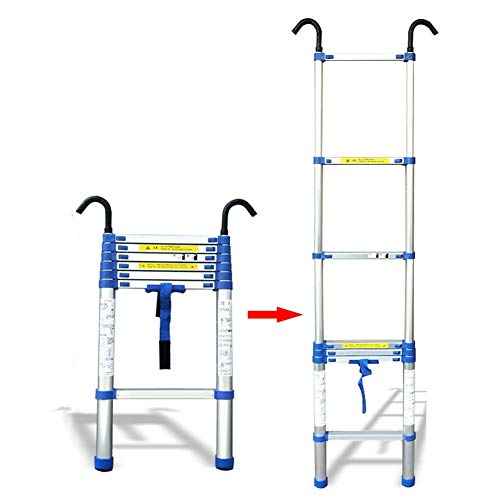 ZAQI 5m/6m/7m/8m Tall Telescoping Ladder with Removable Hook, Aluminum Extension Ladder for Industrial Home Office Loft Factory, Load 150 kg (Size : 8m(26.2 ft))
